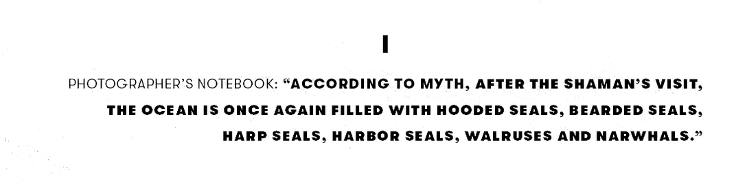 """According to myth, after the shaman's visit, the ocean is once again filled with hooded seals, bearded seals, harp seals, harbor seals, walruses and narwhals."""