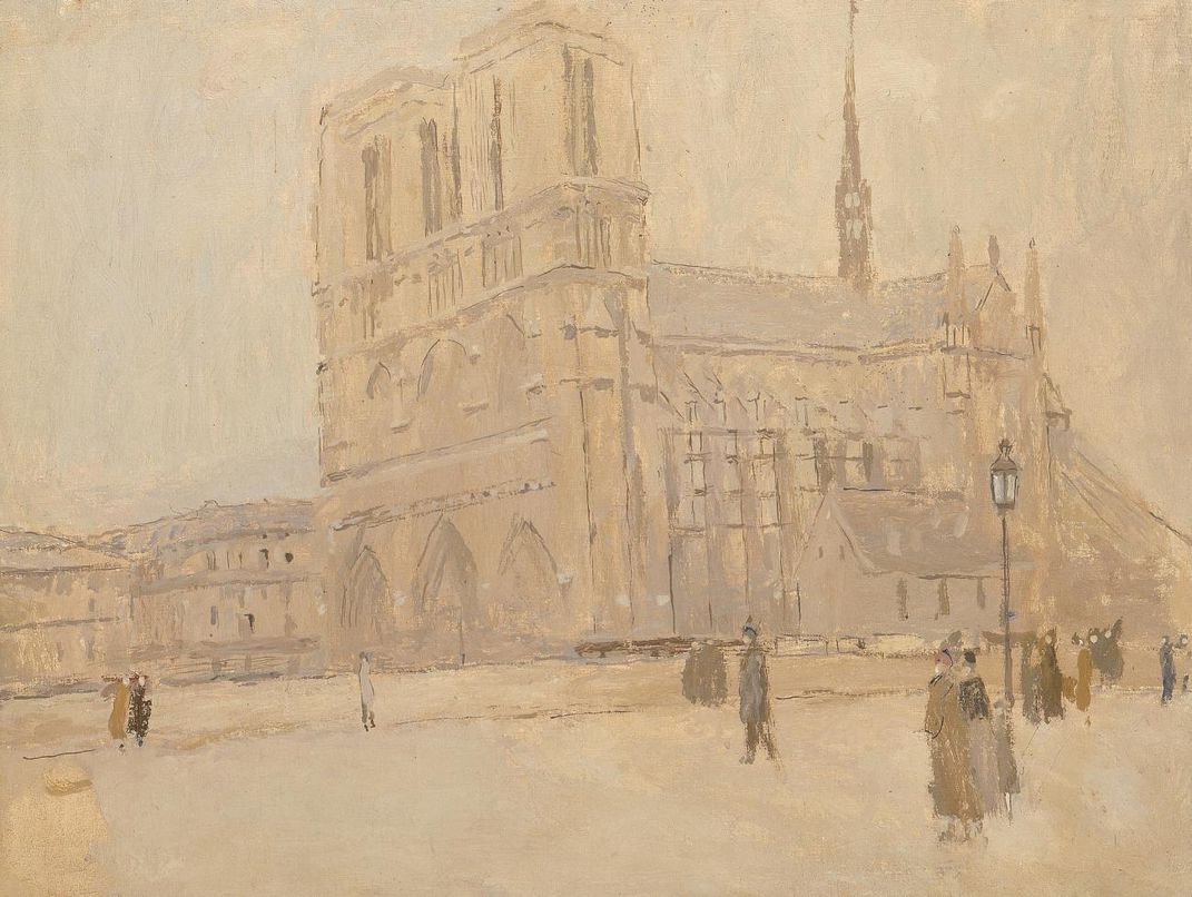 A painting of Notre Dame from the side.
