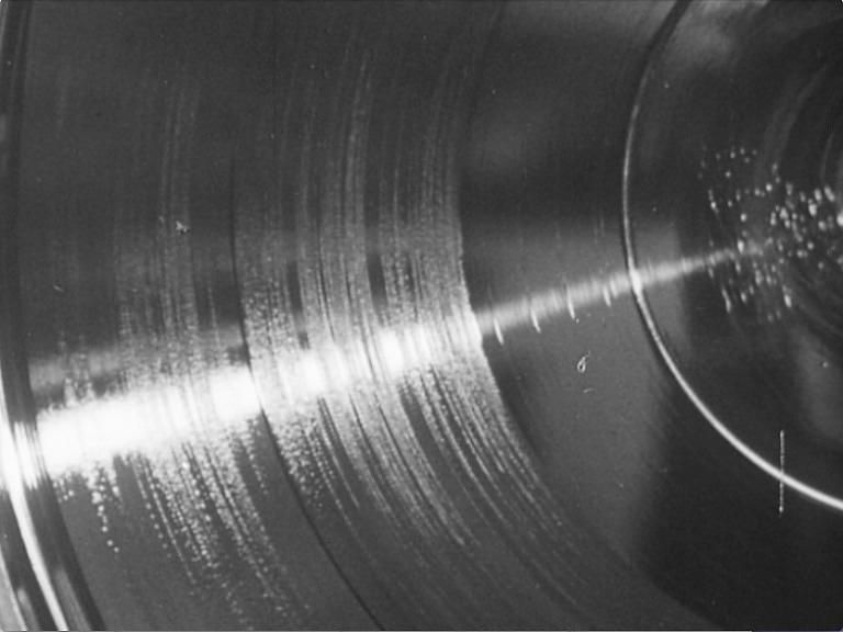A black and white detailed image of a record.
