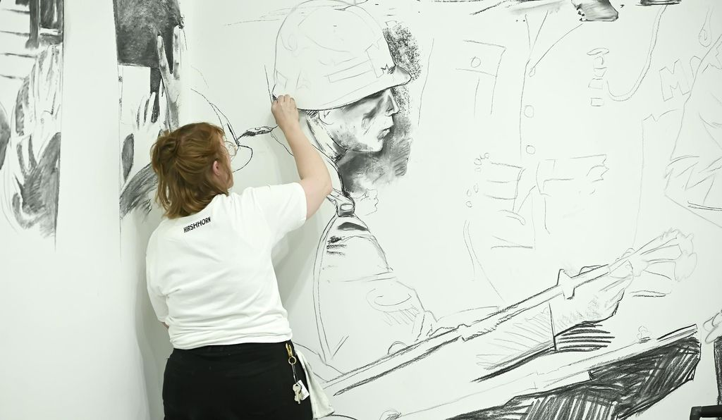 Local artists are hired to draw the images—at the Hirshhorn, the city's most esteemed muralists were put to work.