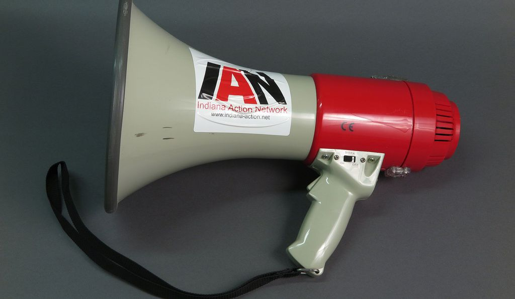 A bullhorn used by gay rights activists across Indiana. Ott says the exhibit highlights different ways in which LGBTQ people take on risk—whether by going out and protesting, or simply by existing outside societal norms.
