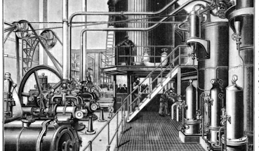 Inside the pipe-coolant system used to keep the artificial Paris rink frozen even in the summer, 1893.
