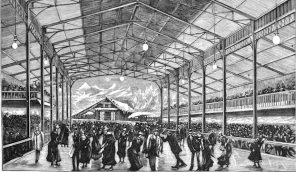 A 1893 <i>Scientific American</i> illustration captures massive crowds at the artificial ice rink in Paris, which was based on London's Glaciarium.