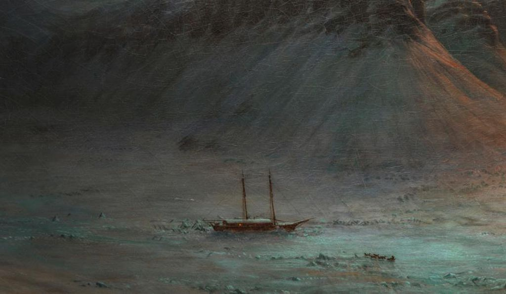 A faint but visible light emanates from a window in the schooner. A dogsled team is approaching the ship, though the fate of its crew is far from certain.