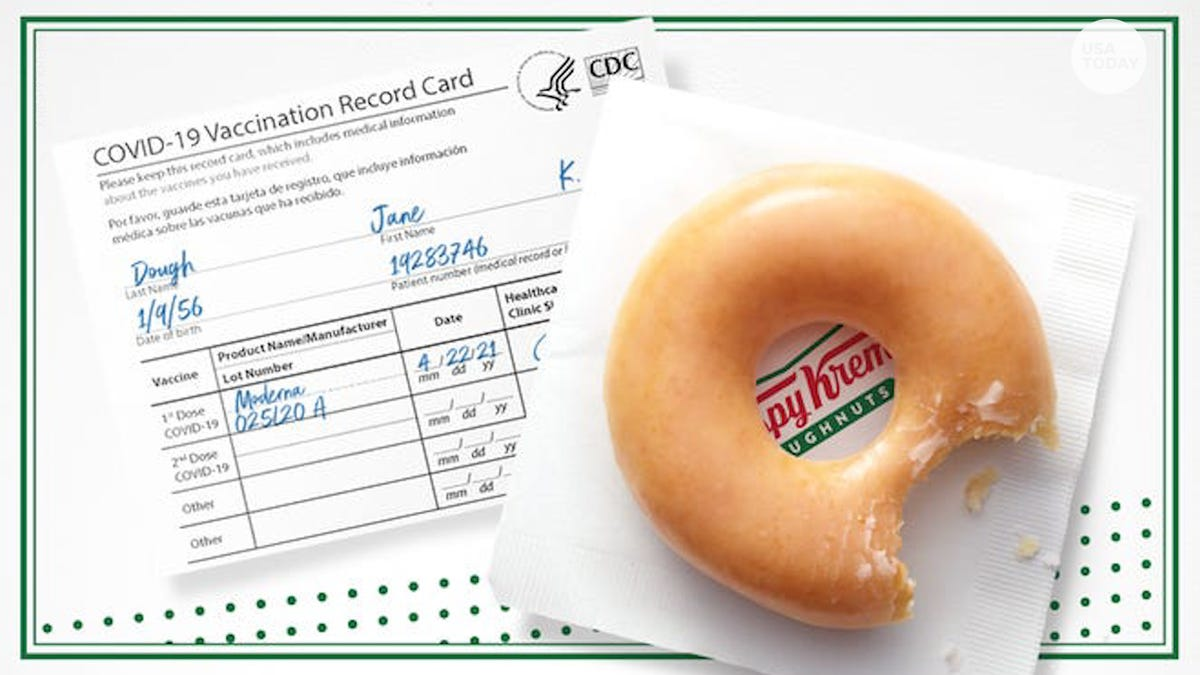 Free Krispy Kreme donuts, Budweiser beer on tap with COVID vaccine, plus laminate vaccination cards for free